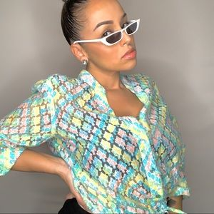 Sheer/ Lace Heart Of Palms Pastel jacket